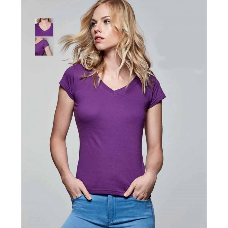 Camiseta mujer manga corta color purpura